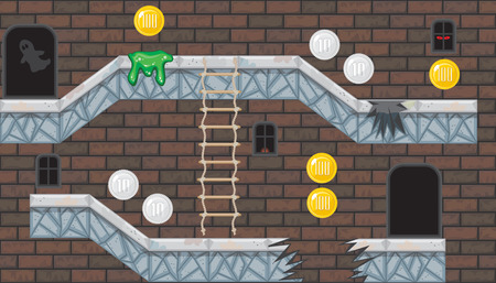 Seamless editable horizontal indoor background with coins and brick wall for platform game Illustration