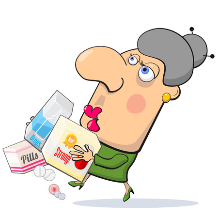 middle age women: Worrying woman running with boxes with different medicines