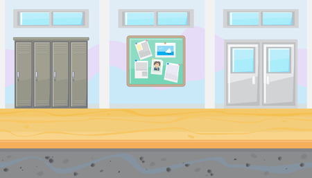 Seamless horizontal background of school corridor for game