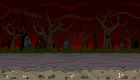 graves: Seamless horizontal background with trees and graves for game