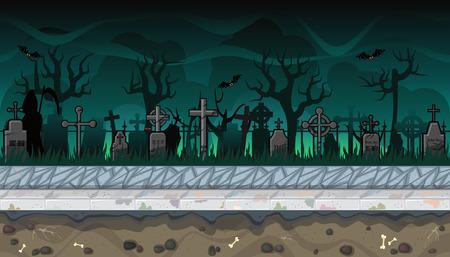 ビデオ ゲームの怖い墓地とシームレスな水平背景  イラスト・ベクター素材