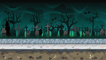 halloween bat: Seamless horizontal background with scary cemetery for video game Illustration