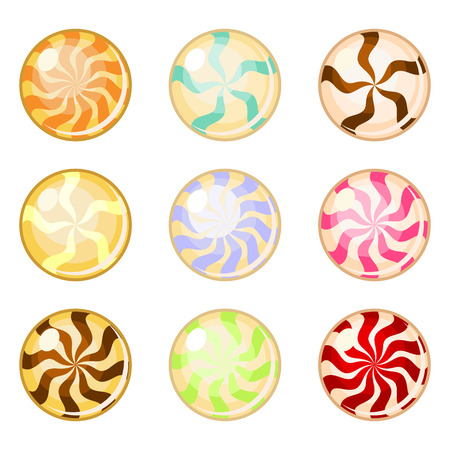 toffee: Set of assorted colorful round candies isolated over white