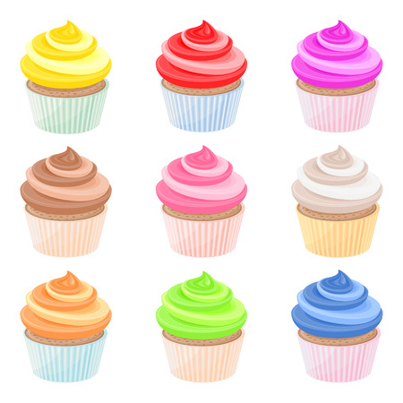 whipped cream: Set of nine colorful cupcakes with whipped cream