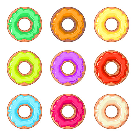 cake with icing: Set of nine isolated donuts with colorful glaze