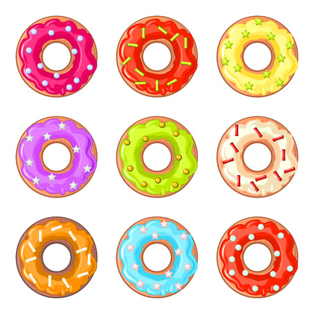 sprinkles: Set of nine isolated donuts with colorful glaze and sprinkles