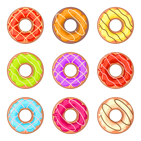 cake with icing: Set of nine isolated donuts with colorful glaze and lines