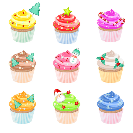 cupcakes isolated: Set of festive Christmas cupcakes with different decorations Illustration