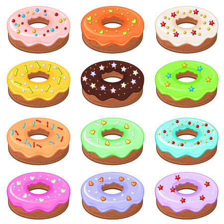 sprinkles: Set of 12 detailed donuts with colorful glaze and sprinkles