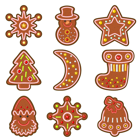 baking: Set of decorated  Christmas cookies isolated over white Illustration