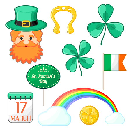 leprechaun hat: Set of isolated symbols for Saint Patricks Day Illustration