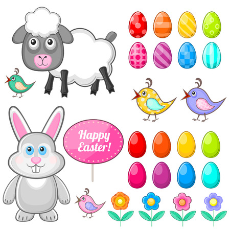 cartoon hare: Set of isolated festive symbols for Easter holiday