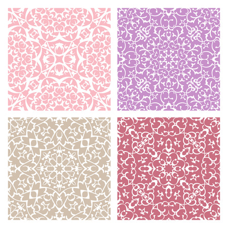 background cover: Set of four warm color lacy quadrate seamless oriental backgrounds Illustration