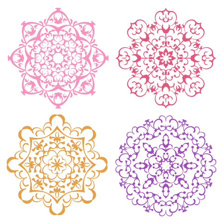 delicate arabic motif: Set of four warm color lacy eastern round ornaments mandalas isolated over white