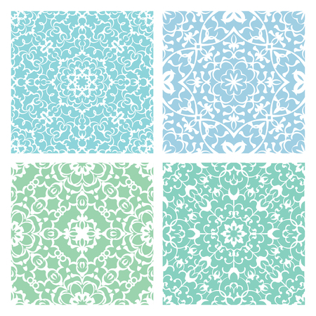 quadrate: Set of four cold color lacy quadrate seamless oriental backgrounds Illustration
