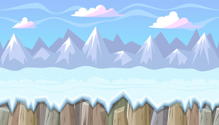 rocky mountains: Seamless horizontal winter background with rocky mountains for video game