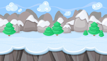 glacial: Seamless horizontal winter background with round mountains for video game