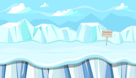 video game: Seamless horizontal winter background with icy mountains for video game Illustration