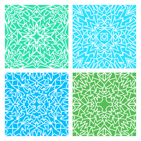 quadrate: Set of four blue and green lacy quadrate seamless oriental backgrounds