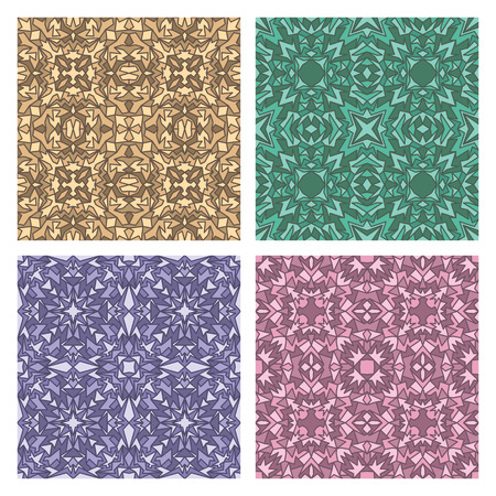 quadrate: Set of four quadrate seamless oriental carpet backgrounds Illustration