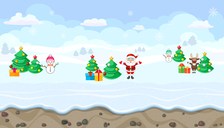 christmas characters: Seamless horizontal winter background with Christmas characters for video game