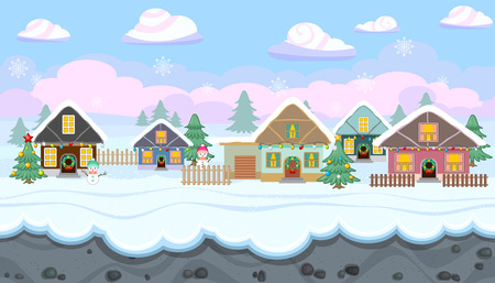 Seamless horizontal winter background with holiday houses for video game