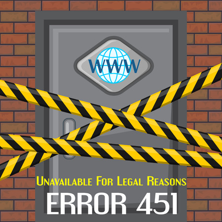 reason: Concept of unavailable for legal reason error message with brick wall and door
