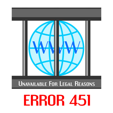 interdict: Concept of unavailable for legal reason error message with globe in cage Illustration