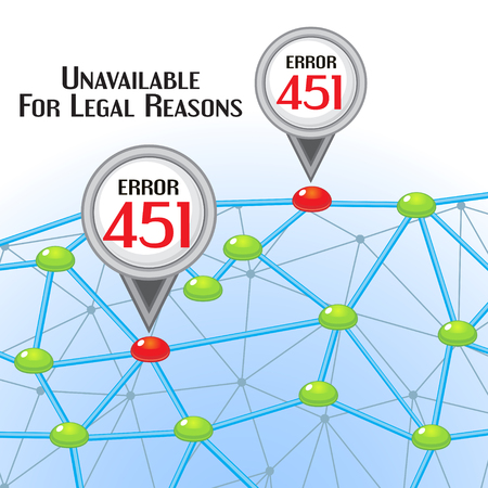 interdict: Concept of unavailable for legal reason error message with network and pointers Illustration
