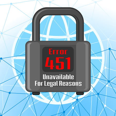 unavailable: Concept of unavailable for legal reason error message with network and padlock