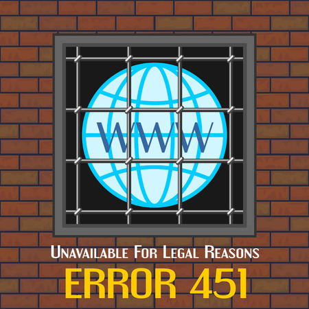 reason: Concept of unavailable for legal reason error message with window of jail Illustration