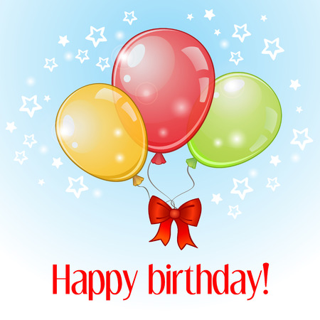 revelry: Birthday greeting card with three colorful balloons and red bow Illustration