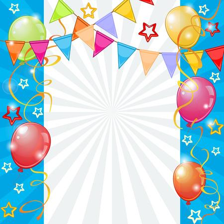 Feestelijke achtergrond met kleurrijke ballonnen en gorzen Stock Illustratie