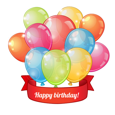 shiny background: Birthday greeting card with group of colorful balloons and red ribbon