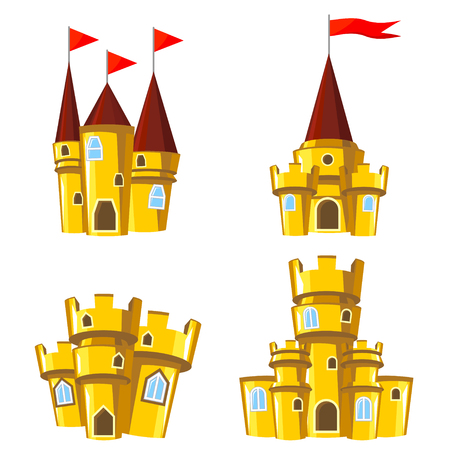editable: Set of four editable gold castles for game design