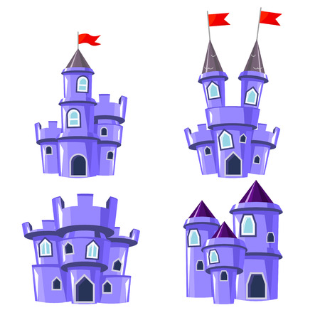 house  houses: Set of four editable blue castles for game design