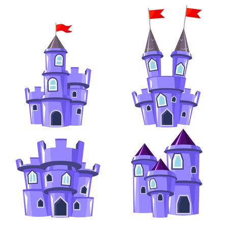 fortress: Set of four editable blue castles for game design