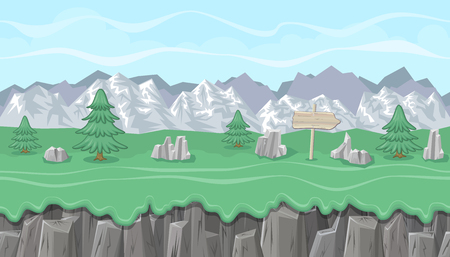 foothill: Seamless editable mountainous horizontal background with stones and fir trees for video game