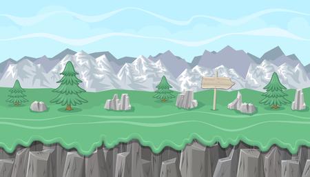 mountainous: Seamless editable mountainous horizontal background with stones and fir trees for video game