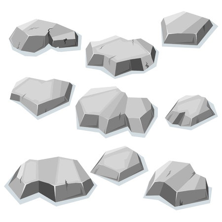 mineral stone: Set of flat gray stones isolated with shadow for video game Illustration