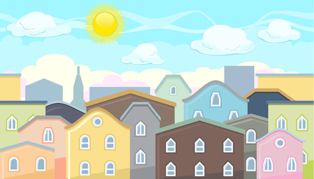 settlement: Seamless editable horizontal background of city houses and roofs for video game
