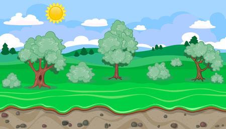 endlos: Nahtlose editierbare ländlichen horizontale Hintergrund mit Bäumen für Videospiel