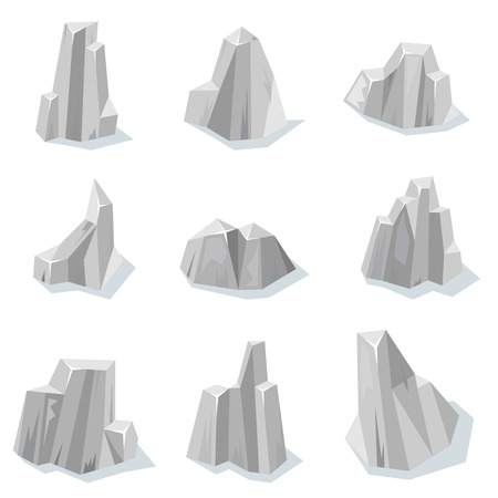 cliffs: Set of sharp rocky gray stones isolated with shadow for video game Illustration