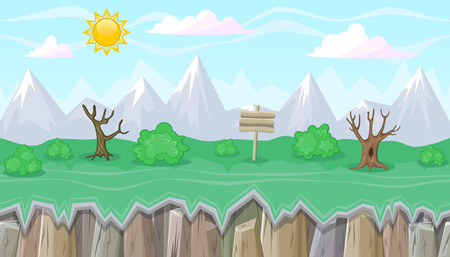 mountainous: Seamless editable mountainous horizontal background with bushes and dead trees for video game
