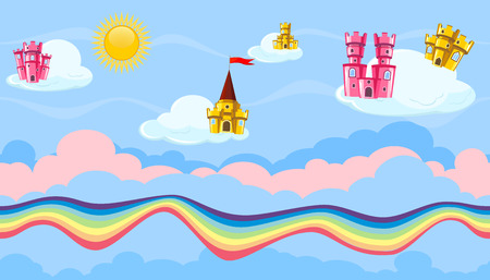 fanciful: Seamless editable horizontal heavenly background with colorful castles and rainbow road for video game