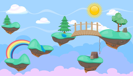 Seamless editable horizontal heavenly background with green islands and trees for video game Illustration