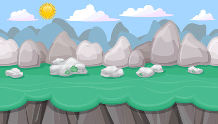 foothill: Seamless editable mountainous horizontal background with round stones and cliffs for video game