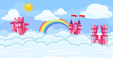 Seamless editable horizontal heavenly background with pink castles and clouds for video game