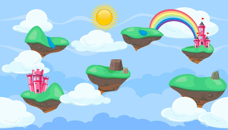 rope bridge: Seamless editable horizontal heavenly background with green islands and castles  for video game