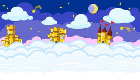dreamland: Seamless editable night cloudscape with golden castles for game design
